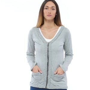 KM Collection  Gray Knit Braided Cardigan